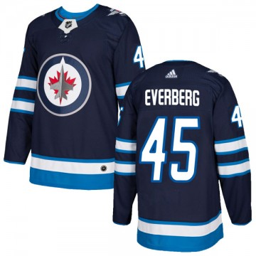 Authentic Adidas Youth Dennis Everberg Winnipeg Jets Home Jersey - Navy